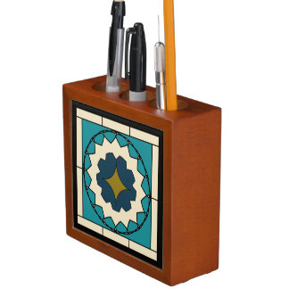 Deco Blue Tile Design Desk Organizer