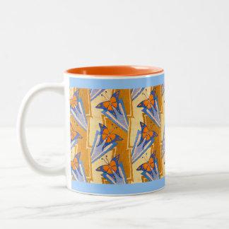 Deco Butterflies Two-Tone Coffee Mug