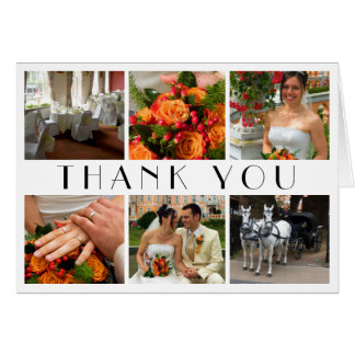 Deco chic white 6 photos collage wedding thank you card