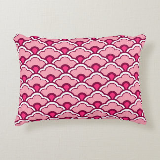 Deco Chinese Scallops, Fuchsia and Light Pink Decorative Pillow