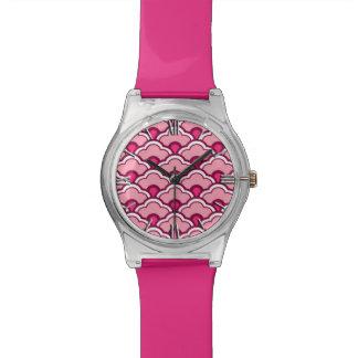 Deco Chinese Scallops, Fuchsia and Light Pink Watch