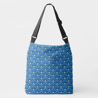 Deco Chinese Scallops, Ocean Blue and Indigo Crossbody Bag