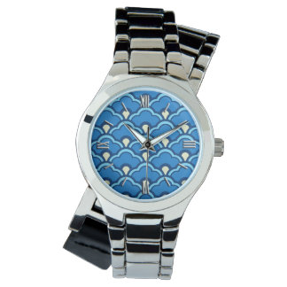 Deco Chinese Scallops, Ocean Blue and Indigo Watch