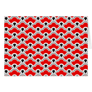 Deco Chinese Scallops, Red, Grey, Black and White Card