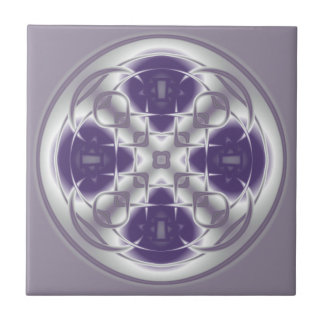 Deco Circle Abstract Purple and Gray Ceramic Tile