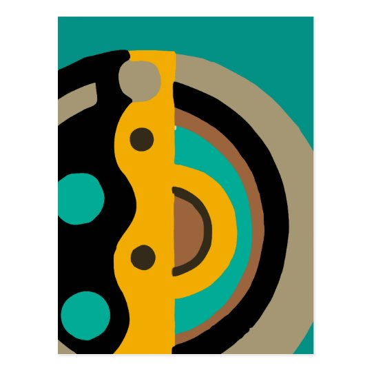 Deco Circle in Gold and Teal Postcard