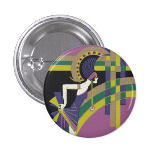 Deco Dancing Girl Badge 1 Inch Round Button