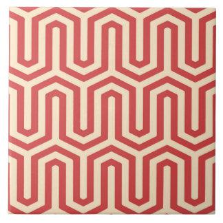 Deco Egyptian motif - coral orange Ceramic Tile