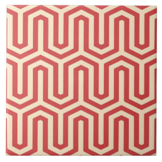 Deco Egyptian motif - coral orange Tile