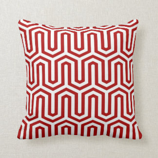 Deco Egyptian motif - red and white Throw Pillow