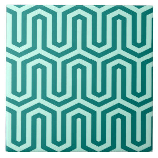 Deco Egyptian motif - turquoise and aqua Tile