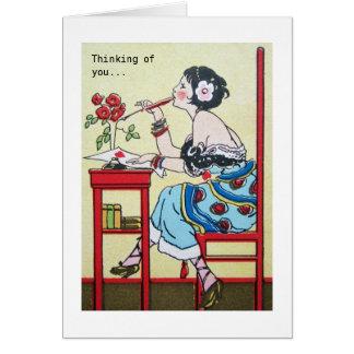 Deco Elegant Sophisticated Girl Valentine Card