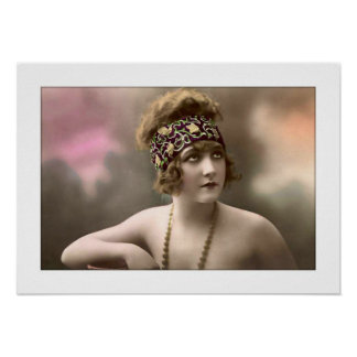 deco era girl with headscarf beads poster