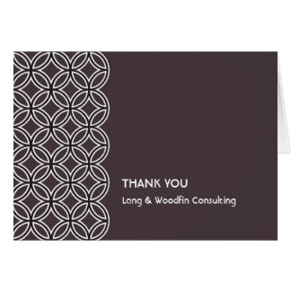 Deco espresso brown circle pattern thank you card