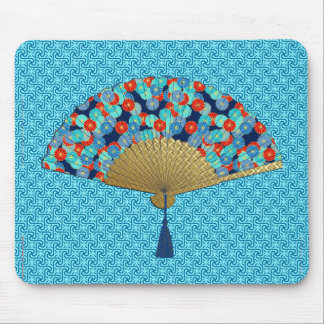 Deco Fan -  Flowers in Cobalt, Turquoise and Red Mouse Pad