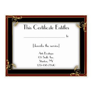 Deco Frame Gift Certificate Postcard