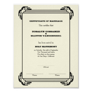 Deco frame keepsake wedding certificate vertical poster