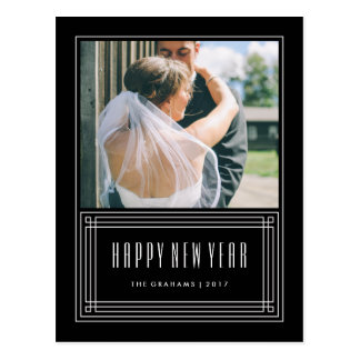 Deco Frame New Year's Postcard - Coal