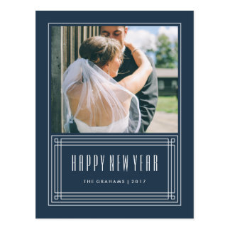 Deco Frame New Year's Postcard - Navy