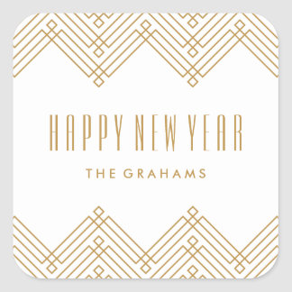 Deco Frame New Year's Sticker - Tan