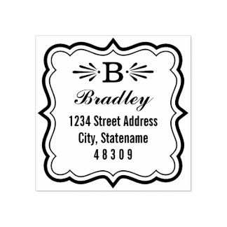 Deco Frame | Return Address Rubber Stamp