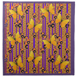 Deco Gold Butterflies Purple Art Napkin