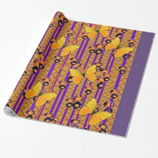 Deco Gold Butterflies Purple Art Wrapping Paper