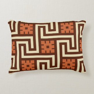Deco Greek Key, Brown, Beige and Rust Accent Pillow