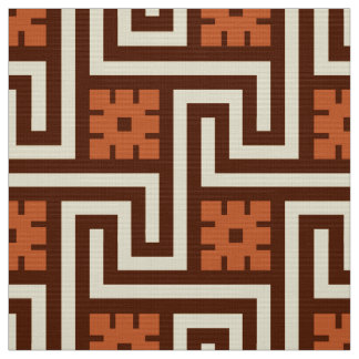 Deco Greek Key, Brown, Beige and Rust Fabric