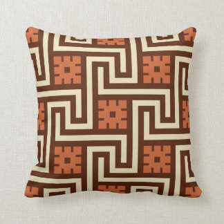 Deco Greek Key, Brown, Beige and Rust Throw Pillow