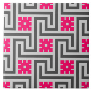 Deco Greek Key, Grey / Gray and Fuchsia Pink Tile