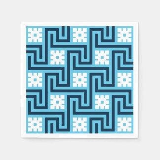 Deco Greek Key, Sky Blue and Navy Paper Napkin