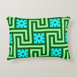 Deco Greek Key, Turquoise and Jade Green Accent Pillow