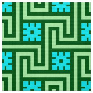 Deco Greek Key, Turquoise and Jade Green Fabric