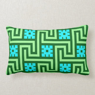 Deco Greek Key, Turquoise and Jade Green Lumbar Pillow