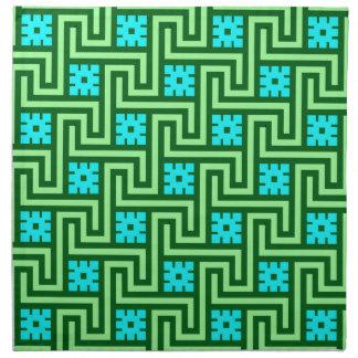Deco Greek Key, Turquoise and Jade Green Napkin