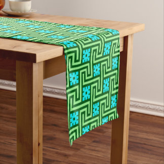 Deco Greek Key, Turquoise and Jade Green Short Table Runner