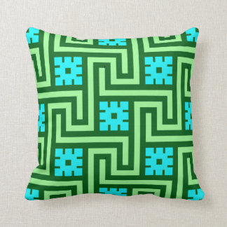 Deco Greek Key, Turquoise and Jade Green Throw Pillow