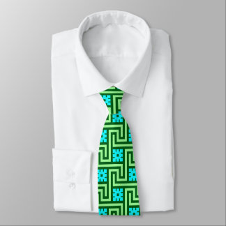 Deco Greek Key, Turquoise and Jade Green Tie