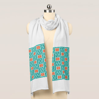 Deco Greek Key, Turquoise, Aqua and Coral Scarf
