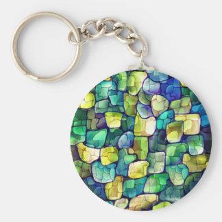 Deco green pattern basic round button keychain