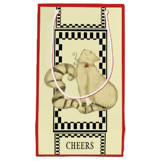 Deco Holiday Cat  Black Check Border Personalize Small Gift Bag