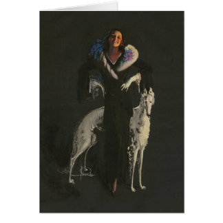 Deco Lady Borzoi Card