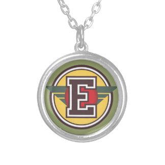 "Deco Monogram Letter ""E"" Initial Round Pendant Necklace"