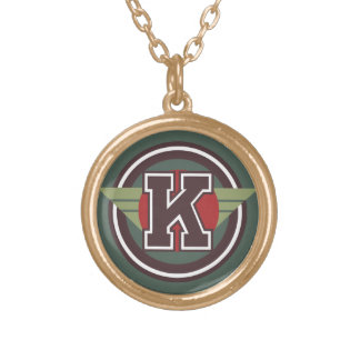 "Deco Monogram Letter ""K"" Initial Round Pendant Necklace"