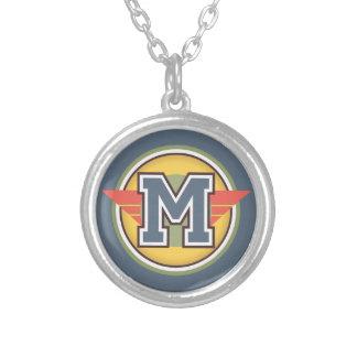 "Deco Monogram Letter ""M"" Initial Round Pendant Necklace"