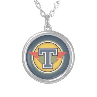 "Deco Monogram Letter ""T"" Initial Round Pendant Necklace"