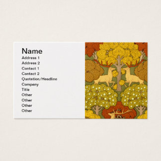 Deco Nouveau Stag and Trees Business Card