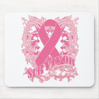 Deco Pink Ribbon - Breast Cancer Survivor Mouse Pad