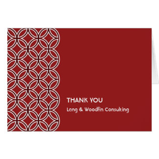 Deco red white circle pattern thank you card